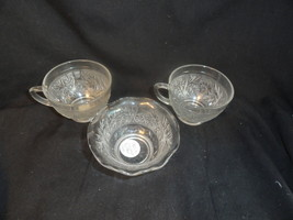 Crystal 2 Sandwich Depression Glass Cups & Crimped Custard Cup - $11.99