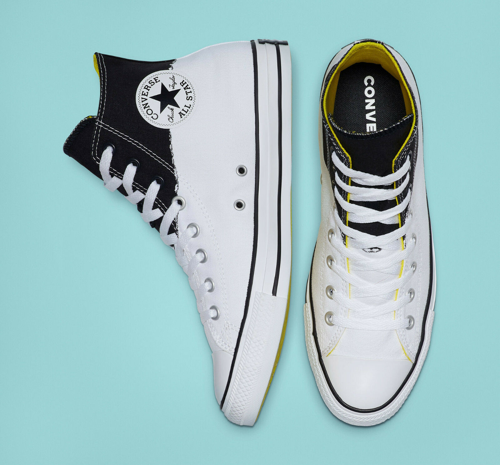 Converse Mens CTAS Hi I Stand For Canvas 165709C White/Black/Fresh Yellow Sz 10 image 3