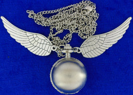 Golden Snitch Pocket Watch Necklace Silver Color Qudditc Game Inspired - $9.69+