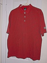 Nike Dri-Fit Mens Size L Red Golf Shirt S/S 66% Cotton-34% Polyester Excell Cond - $6.35