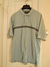 Aeropostale Mens Size L Light Blue S/S Polo Shirt w/Stripes 100% Cotton - $5.34