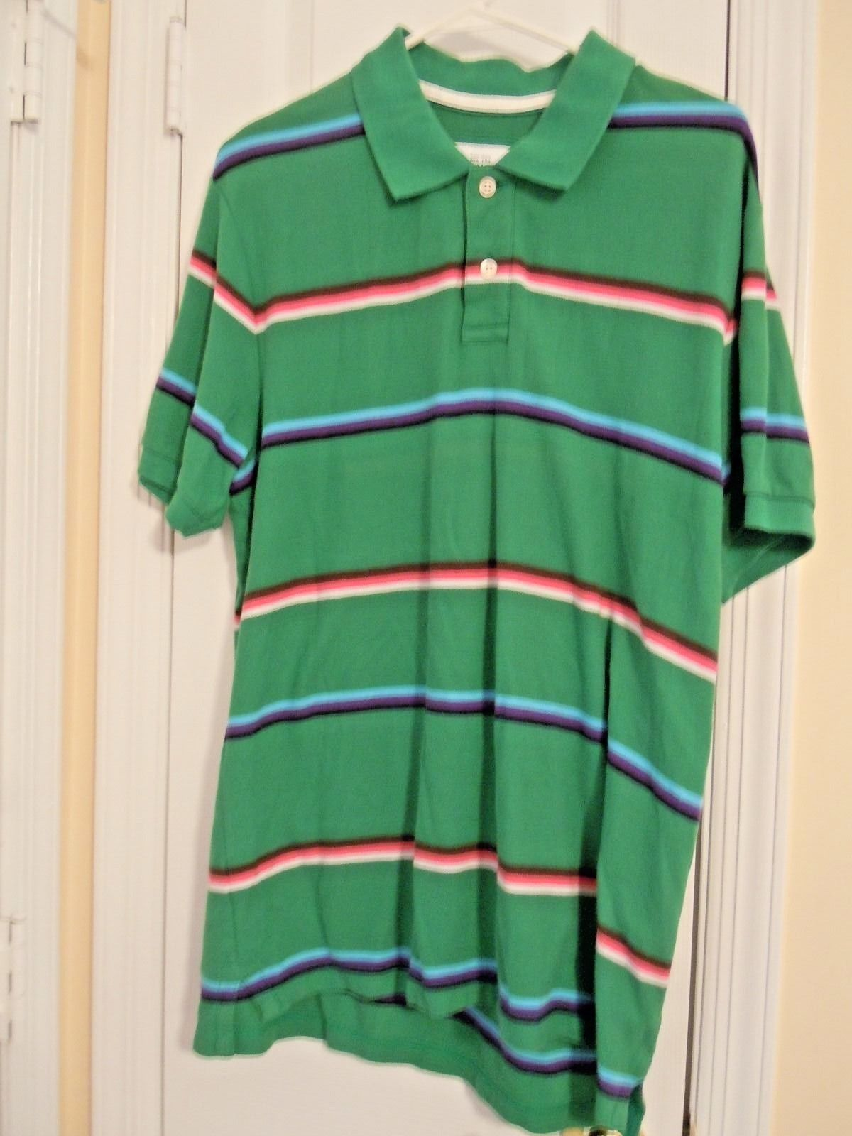 27778b76e4a Old Navy Mens Sz. L Green Striped S S Polo Shirt 100% Cotton Excellent  Condition -  5.79