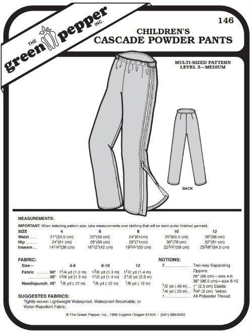 Children's Cascade Powder Snow Pants Kids #146 (Sewing Pattern Only) gp146 - $5.00