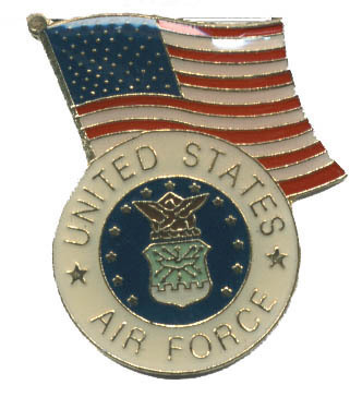 12 Pins - US AIR FORCE w/ AMERICAN FLAG , usaf pin 4629