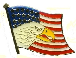 12 Pins - US AMERICAN FLAG WITH EAGLE lapel hat pin 528 - $9.00