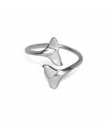 Adjustable Silver Dual Whale Tail Ring, 925 Sterling Silver Double Tail ... - $16.50