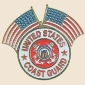12 Pins - US COAST GUARD w/ 2 AMERICAN FLAGS pin sp125