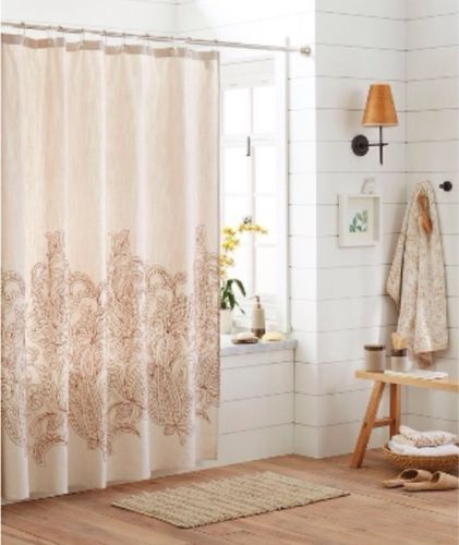 Threshold Kareem Embroidered Paisley Shower Curtain Cotton Cream Brown NWT