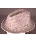 Vintage Knit Wool Blend Fedora-RECORD-Size 59-Made in France-Tan-Good Co... - $37.39