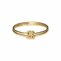 Gold Interlocking Knot Ring, 12K Gold Filled Double Linked Textured Love... - $12.50