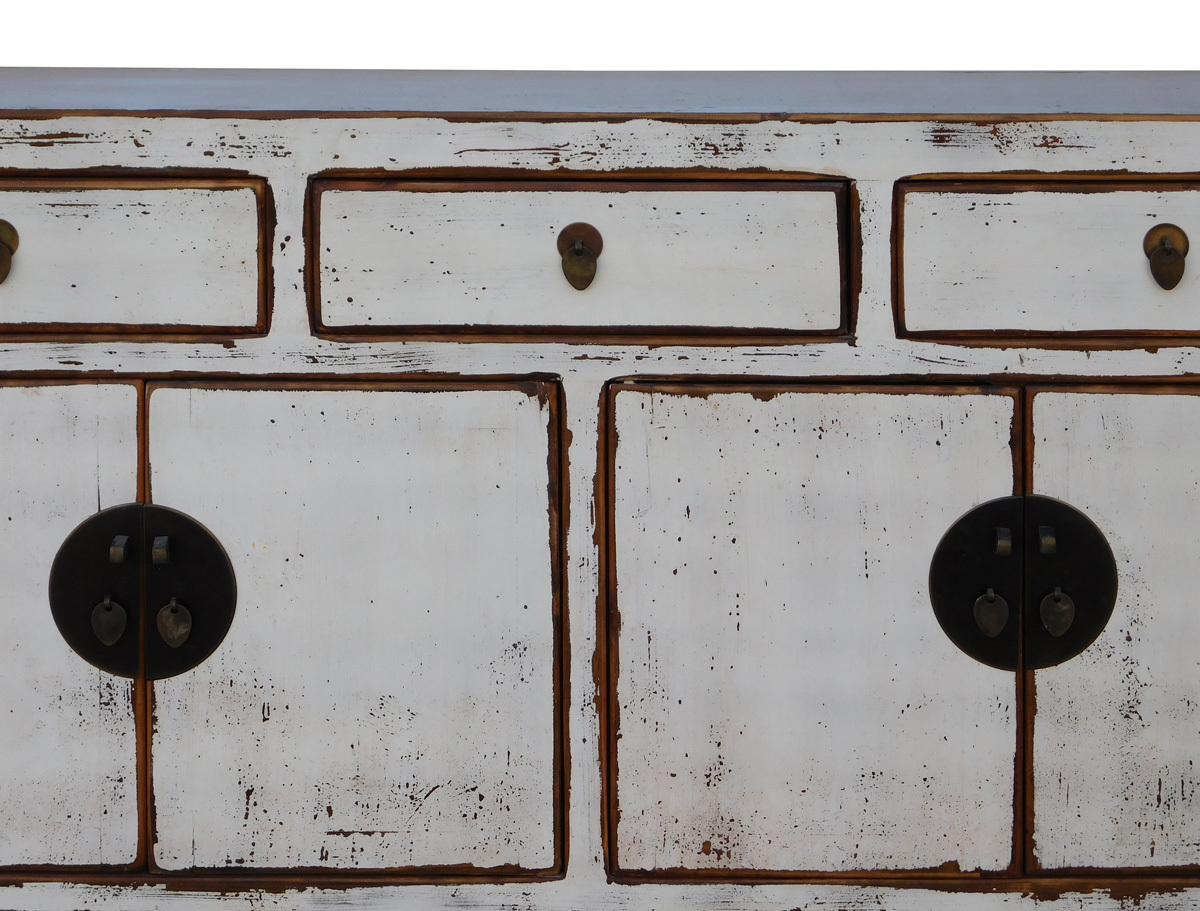 Chinese Distressed Rustic Off White Sideboard Buffet Table