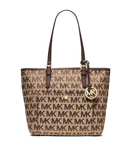 michael kors jet set travel beige black black jacquard medium tote shopper handbags purses. Black Bedroom Furniture Sets. Home Design Ideas