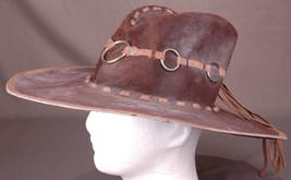 Vintage Leather Cowboy Hat-Band w Metal Rings-Western-Ranch-Tassle-Brown... - $56.09