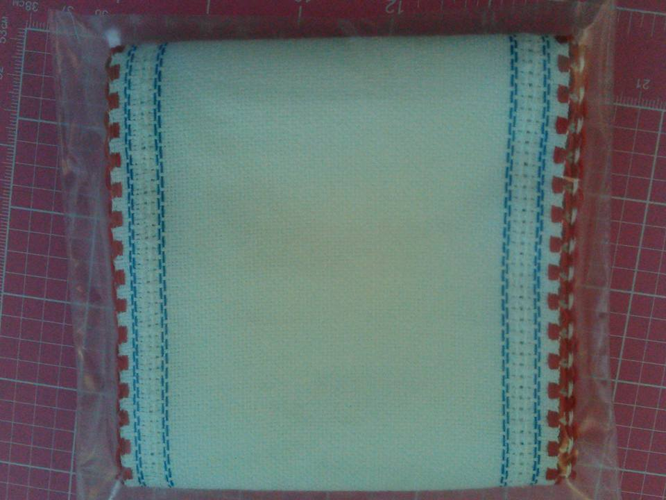 "Primary image for ** 24ct White Red White Blue Border banding 5""w x 36"" 100% linen Zweigart"