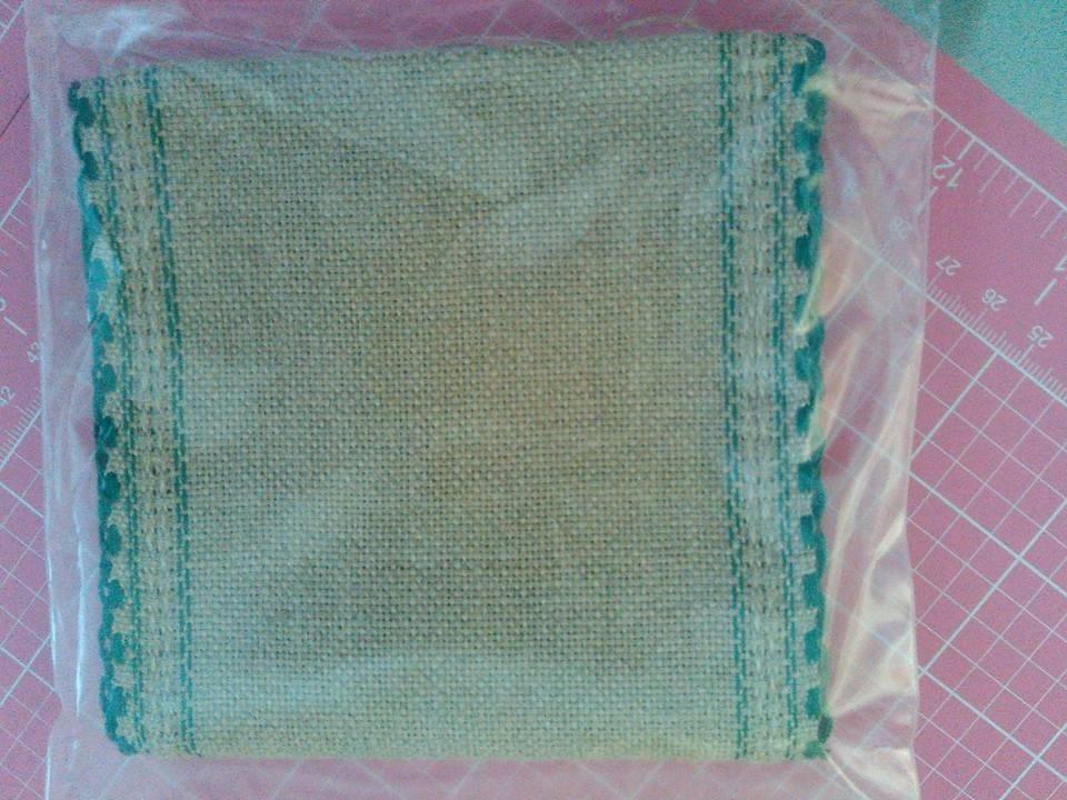 """** 24ct Natl Brown Green Scalloped banding 5""""w x 36""""(1yd)100% linen Zweigart - $13.50"""