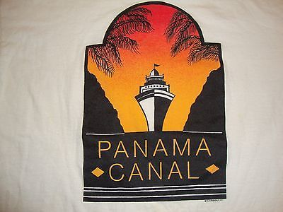 Primary image for Vintage Panama Canal Cruise Ship Vacation Tourist Sunset White T Shirt XL