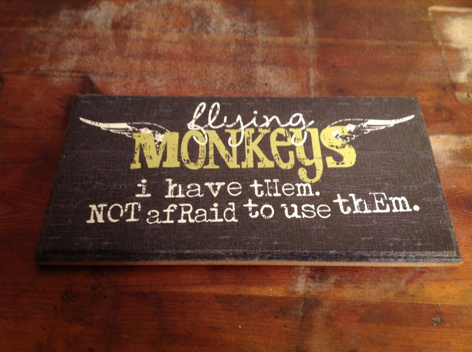 Flying Monkeys Wooden Wall Table Plaque NEW