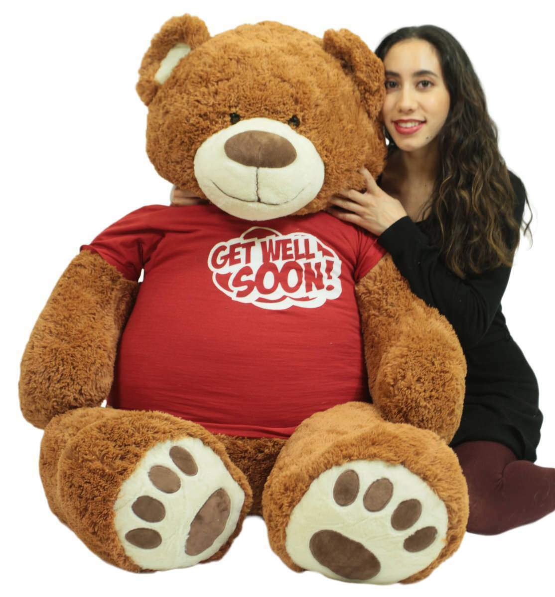 Primary image for Get Well Soon Giant Teddy Bear 5 ft Soft 60 Inch, Wears T-shirt Get Well Soon