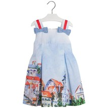 Mayoral Little Girl 2-9 Bow Shoulder Border Print Fit And Flare Dress