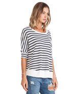New $98 Women's Splendid Striped Box Top 3/4 Sleeves Sz S & M - $31.49