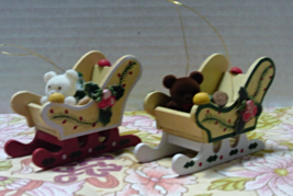 Vintage Teddy Bear WOOD SLEIGH Christmas Ornaments Retro Holidays - $4.00