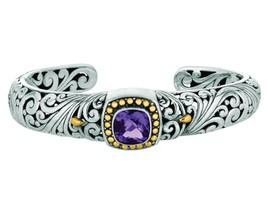 Phillip Gavriel 18k Yellow Gold & Sterling Silver Amethyst Cuff Bracelet - £320.09 GBP