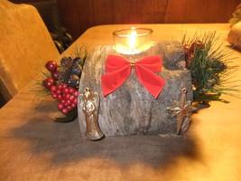 Birch Wood Fireplace Log Votive Candle Holder Rustic Cabin/Mantle Decor - $23.01