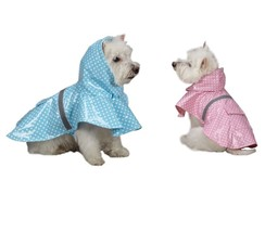 Polka Rain Jacket for Dog -  Blue - S - keep dogs dry - East Side Collec... - $13.46
