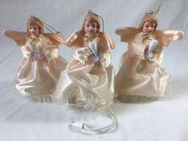 3 Vintage Light Up Angel Ornaments Porcelain He... - $16.78