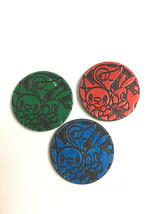 x3 Pokemon Green Red Blue Holo Snivy Tepig Oshawott Coin from Various Th... - $3.16
