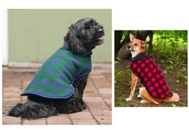 Plaid Fleece blanket Coat for Dog - XS - XL - Blue - Red - Keep warm - Reversibl - $19.55+
