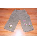 Infant Size 3-6 Months Olive Green Corduroy Pants Pink Floral Embroidery... - $10.00