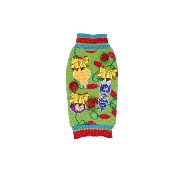Primary image for New York Ugly Sweater for Dog - Green - XS - XL - Metallic Bows