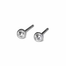 Round Clear Gemstone Stud Earrings, Tiny 925 Sterling Silver CZ Gemstone Studs - $7.00