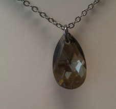 Gunmetal Necklace with 22mm almond shape Bronze shade Swarovski pendant. - £29.39 GBP