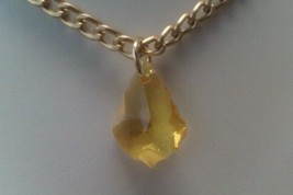 Gold color Necklace with 22mm Baroque shape Yellow Swarovsi pendant. - $38.61