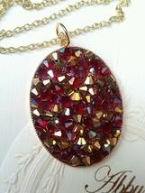 Bridal Necklace, European crystals, Druzy style. Maroon Red. - $58.41
