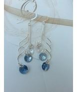 Bridal Earring, Sterling silver, Swarovski, blue, wave shape. For sensit... - $48.51