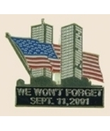 12 Pins - We Won`t Forget September 11 2001 w/ US Flag - $12.00