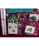 Dollhouse Shopping Bags Gift Wrap Boxes Christmas Holly By Barb grn/wh w... - $10.60