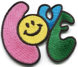 Smiley face love retro 70's design embroidered applique iron-on patch S-... - $2.95