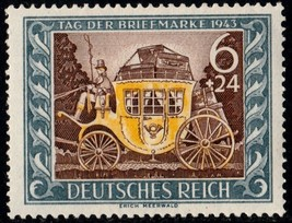 1943 Old Stagecoach Germany Postage Stamp Catalog Number B215 MNH