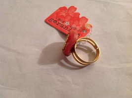 NEW Geranium Gold Toned Ring With Grapefruit Colored Stone Adjustable 7 + Size image 3
