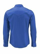 Men's Pearl Snap Button Western Slim Fit Stretch Cowboy Dress Shirt w/ Defect M image 2