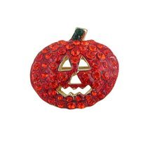 Pumpkin Pin Brooch Halloween Bejeweled - £6.89 GBP