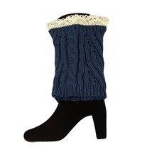 Knit Boot Cuff Topper Liner Leg Warmer With Lace Trim Mixed Pattern, Navy - $7.99