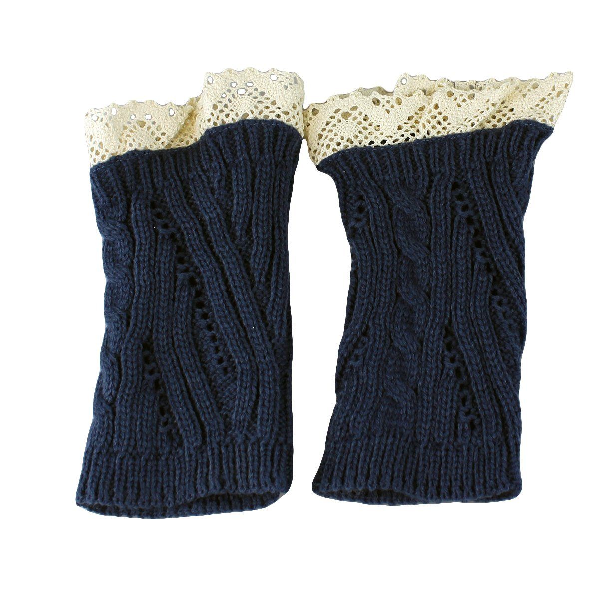 Knit Boot Cuff Topper Liner Leg Warmer With Lace Trim Mixed Pattern, Navy