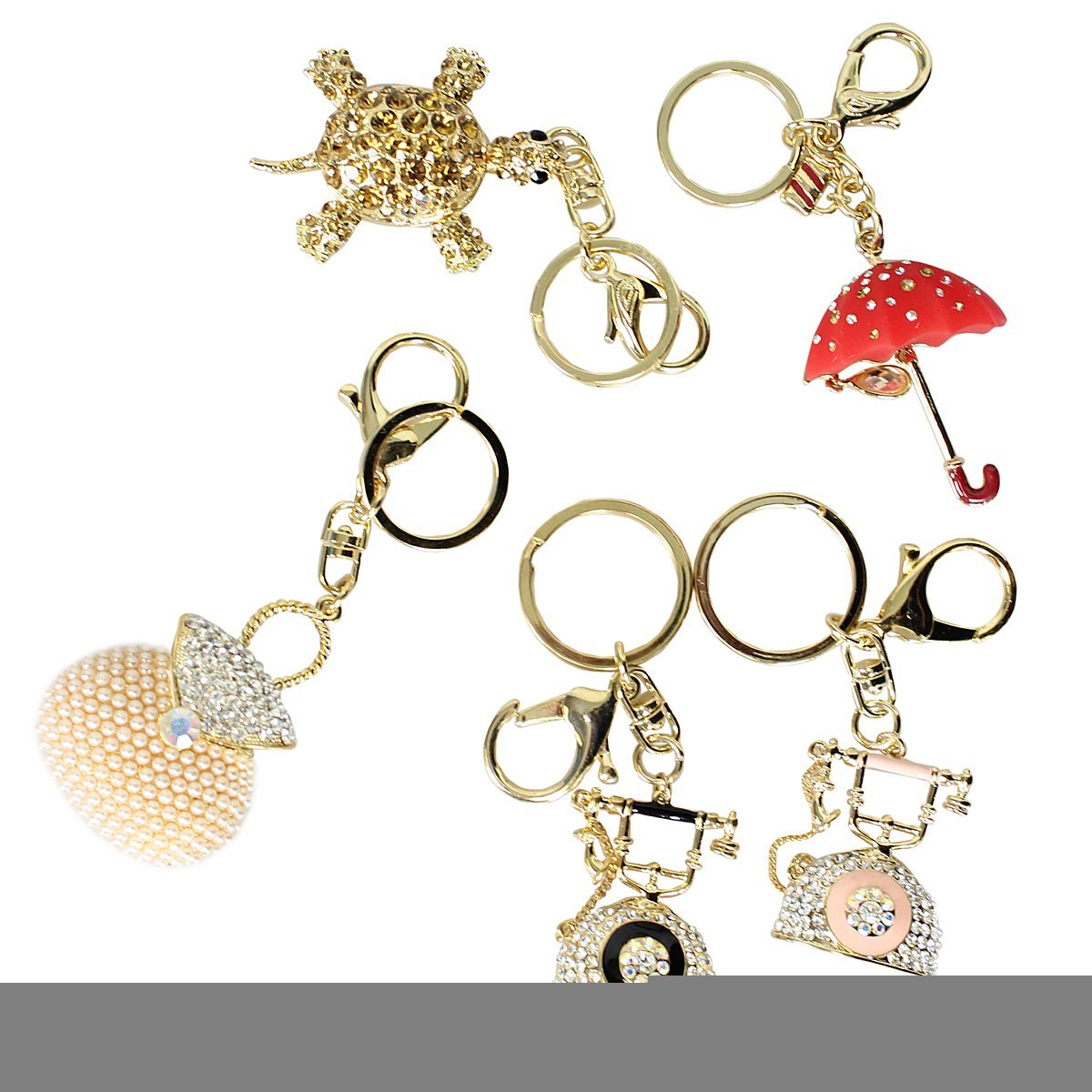 5-Pack Assorted Keychain Purse Charm Multi Purpose-Turtle, Telephones, Umbrel...