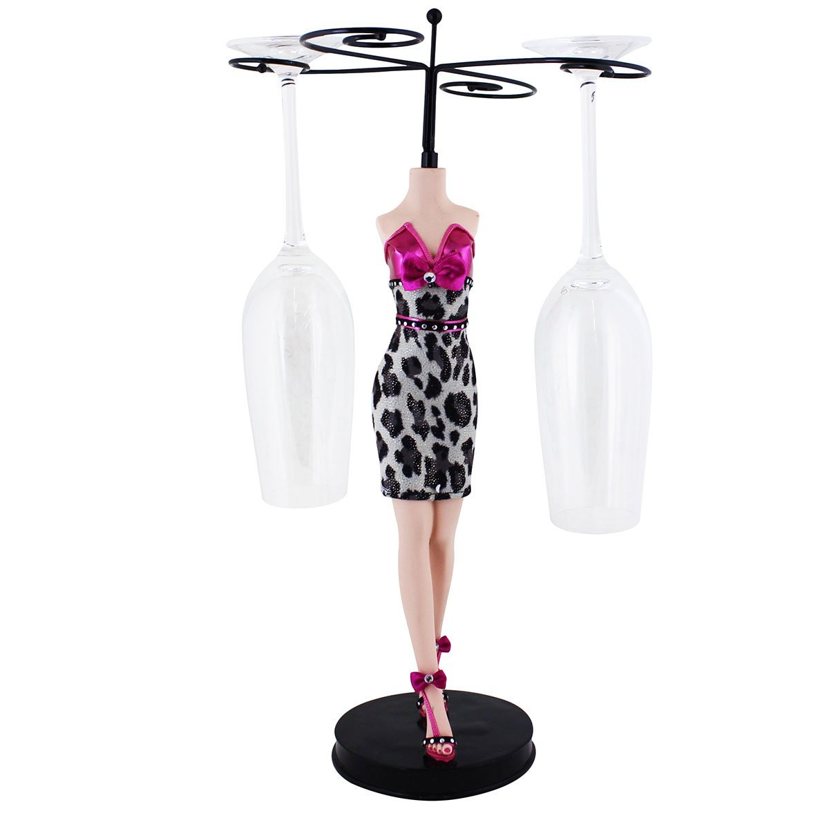 Leopard Cocktail Dress Wine Glass Holder, Fuchsia