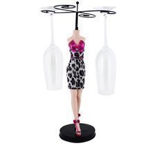 Leopard Cocktail Dress Wine Glass Holder, Fuchsia - $24.99